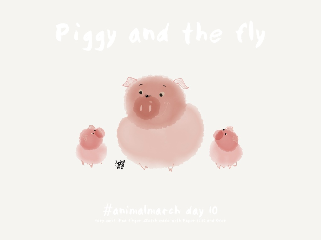 #animalmarch day 10: 'piggy and the fly', very quick iPad finger sketch made with Paper 53 and Over